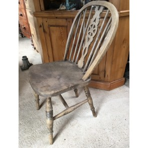 Reclaimed Old Antique Waxed Solid Beech Kitchen Wheel Back Chair