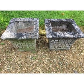 Lovely Old Concrete Pair Of Square Weathered Stone Garden Planters Urn Pots