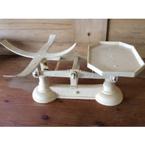 Salvaged 1930s Cast Iron Weighing Scales Cream 22""