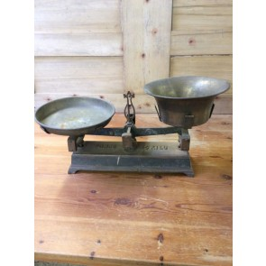 Salvaged 1930s Cast Iron Balance Scales With Brass Weight Tray & Bowl 24 3/8""