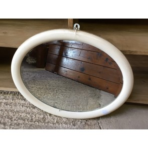 """Vintage Old Oval Mirror With Cream Frame 43x21"""""""