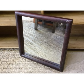 """Reclaimed Old Square Mirror With Stained Wooden Frame 18x18"""""""