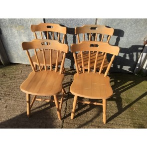 Set Of 4 Reclaimed 1990s Varnished Beech Spindle Back Chairs