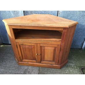 """Reclaimed 1980s Large Pine TV Cabinet With Cupboard And Shelf 35"""" High"""