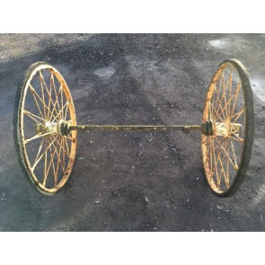 Interesting Pair Of Old Wrought Iron 3' Spoked Wheels & Axle