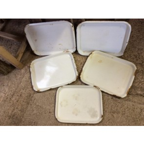 Five Reclaimed Old Enamel Butcher's Meat Trays