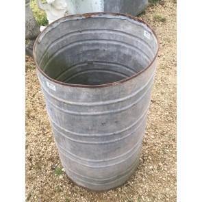 "Vintage Old Galvanized 18"" Round Deep Old Water Tank Trough Planter Tub"
