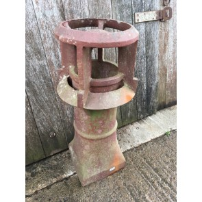 """Salvaged Old Unusual Red Clay Chimney Pot Garden Ornament 35"""" High"""