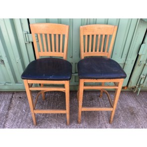 Pair Of Modern Salvaged Tall Beech Bar Stools With Slat Backs Soft Black Seats