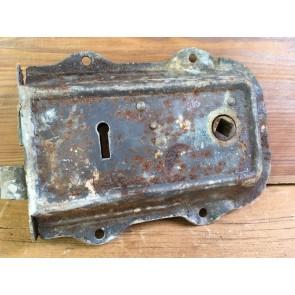 """4 1/2"""" X 6 1/8"""" Salvaged Victorian Steel & Brass Left Hand Door Lock No Key"""