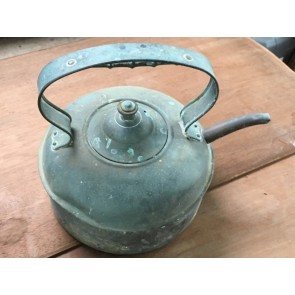 """Lovely Old Tarnished Copper Kettle With A Green Tinge 8 3/8"""" Diameter"""
