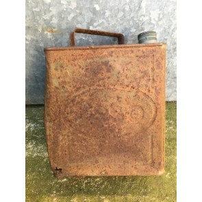 28cm X 25cm Salvaged Vintage Old Steel Esso Petrol Fuel Can