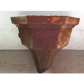 24.8cm High Salvaged Victorian Cast Iron Fluted Eared Gutter Hopper