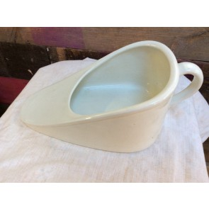 Reclaimed Vintage 1930s Old Ceramic Bedpan Potty Slipper Shape 40cm Long