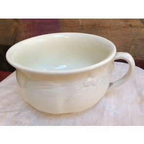 Vintage Old White Round Ceramic Potty With Corn Embossing 22.5cm Diameter