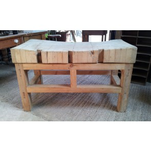 Reclaimed Butcher's Block And Pine Stand
