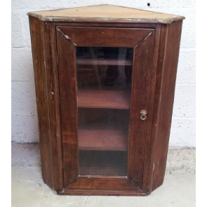 Reclaimed Rustic Mahogany And Pine Glazed Corner Wall Cupboard