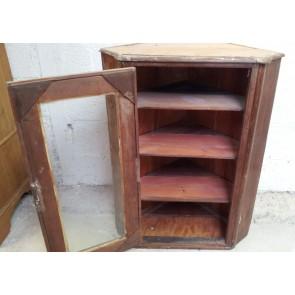 Reclaimed Rustic Mahogany And Pine Glazed Corner Wall Cupboard