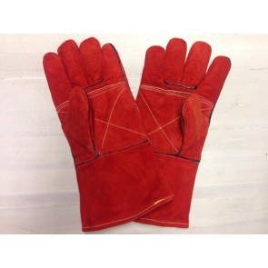 Pair Of Somerfire Red Extra Long Heat Resistant Fireside Stove Gloves